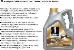 Характеристики синтетического масла